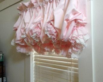 Blush Pink Double Ruffle Balloon Valance Curtain