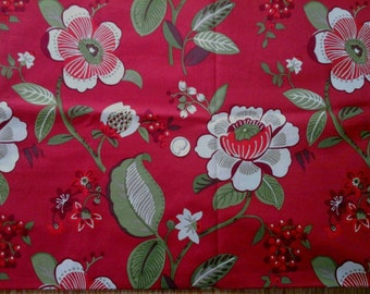 "Cherry Blossom Cotton Fabric 25"" x 44"" Richloom Original Screen Print"