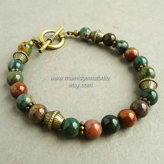 Multi Color Natural Bloodstone Mens Bracelet, Antiqued ...   570 x 570 jpeg 51kB