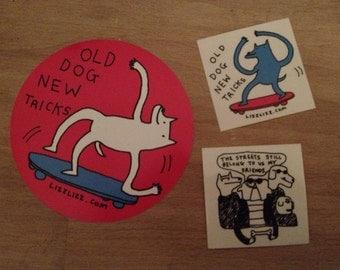 """Street Dawgz Sticker Set! Skateboard """"old dog new tricks"""" Lizz Lunney Comics"""