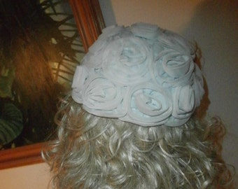Women's Blue Roses  Floral Designed Women's  Pillbox Hat One Size Fits Most