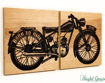 Motorcycle Screen Print on Woodgrain Panels - Unique and Customizable Art