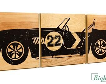 Vintage Race Car #22 Wall Art on Woodgrain Panels - Custom Made 12x36