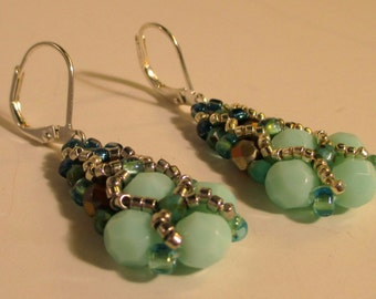 Sparkling Netted Crystal Earrings