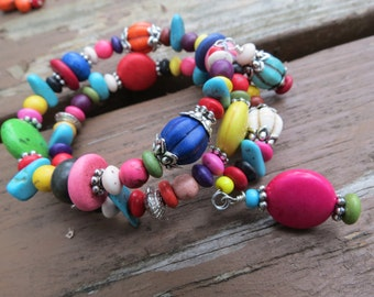 Multi Colored Magnesite and Seed Bead Memory Wire Bracelet with Earrings