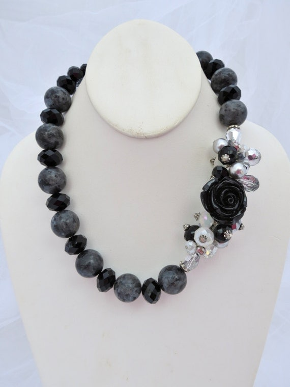 Black Rose with Gray Moonstone, Pearls and Crystals Necklace and Earrings