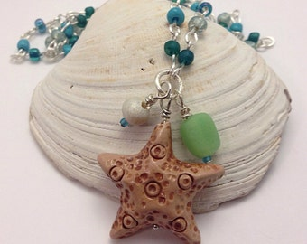 Beaded Polymer Clay Starfish Necklace, Blue Green Sea Star Beach Jewelry