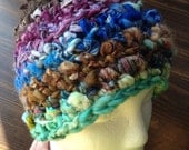 SHOP SALE. Womens warm, thick, winter hat. Ooak freeform crochet hat. Soft and stretchy.
