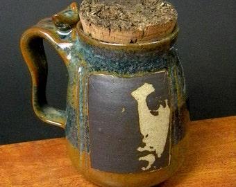 Stoneware Coffee Mug With Natural Bark Cork  ~ Sir Paul McCartney Design ~