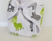 Giraffe Newborn Cloth Diaper or Cloth Diaper Cover for Baby, AI2 style with or without absorbent liner