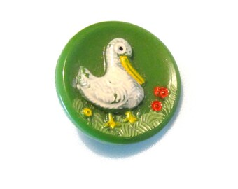 Vintage Sewing Button - Duck on Green Glass