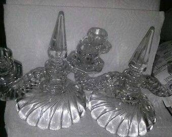 Vintage One Pair (2) of Flawless Pressed Glass 2 Arm Candlestick Candleabra Candleholders Excellent Condition