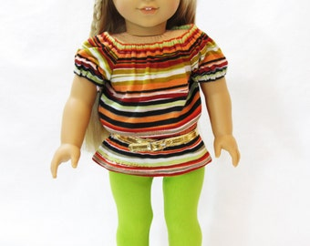 Trendy Striped Tunic and Leggings for 18 Inch Doll