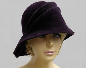 Sophia, Velour Fur Felt Cloche, Downton Abbey era, millinery hat, aubergine