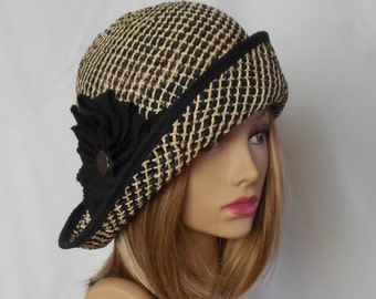 Maggy, lovely seagrass summer hat for any occasion, womens millinery hat, black and tan straw hat