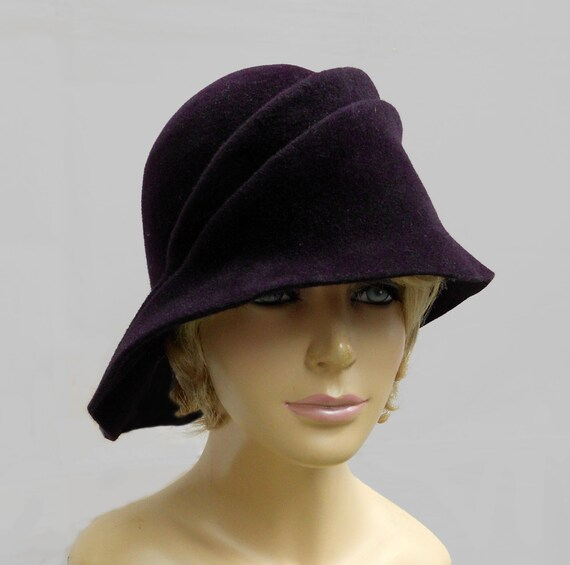 Sophia, Velour Fur Felt Cloche, Downton Abbey era, millinery hat, aubergine