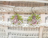 spring assemblage earrings pink enamel flower shabby chic upcycled jewelry