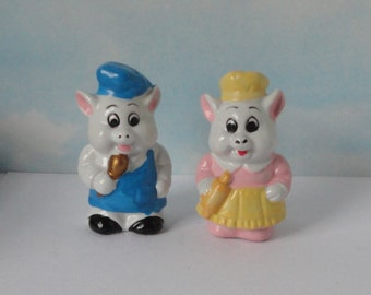 Vintage ceramic  Chefs Pigs Salt and Pepper Shakers.