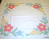 Vintage Cross Stitched Tablecloth w/Blue Gingham Ruffle 43X44