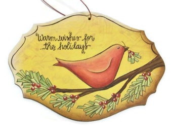 Hand Painted Red Bird Ornament