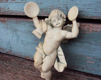 Vintage Italian Angel Cherub Figurine Ornament Florentine Made in Italy