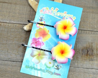 Pink  Flower Bobby  Pins, 1 inch Flowers,   Floral Hair Pins, Plumeria