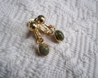 Vintage Jewelry Scarab Earrings Screw Back 1960's Collectible Jewelry