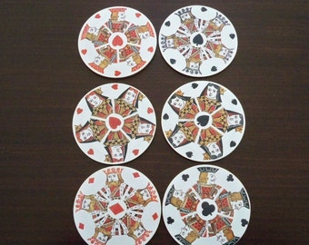 Vintage Dining Barware Coasters Playing Card Round Coasters Set of Six Boxed MET
