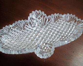 Vintage Collectible Glass Dish Pickle Dish Cut Glass Dish