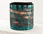 February Leather Bracelet Cuff - Women's Leather Wristband - Hand Painted Finds Unique Cuffs Bracelets