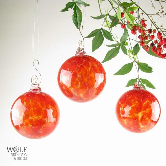 Glass Ornament Suncatcher Fire Red Orange and Gray Speckle Glass Bulb Ornament