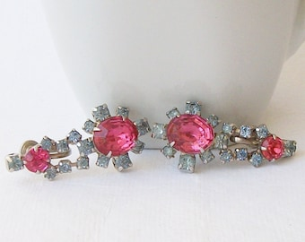 Vintage Screw Back Pink Rhinestone Earrings