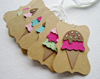 Set of Six Ice Cream Gift Tags