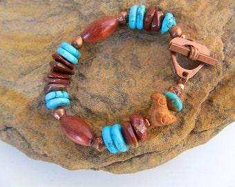 Tribal Bracelet in Turquoise, Pipestone, and Copper - Chunky Southwestern Bracelet