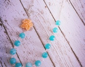 The Soaring Necklace...in Tangerine and Turquoise,  Beautiful for a rustic wedding,  FREE MATCHING EARRINGS