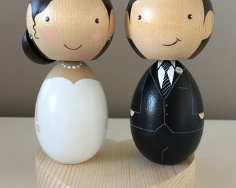 Large Kokeshi Custom Peg Doll Wedding Cake Topper with Heart Stand