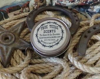 Tin Stars and Six Shooters (patchouli and sandalwood)- 4 oz Mason Jar Texas Western Cowboy Candle