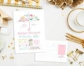 SALE. Digital Umbrella Bridal Shower Invitations & Recipe Card. Wedding. Bridal. Typography Invite. Bridal Shower. Unique. Bridal Umbrella