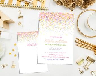 Confetti Birthday Invitation, thank you & print. Printable Custom Confetti Dots Birthday Invite. Sprinkle Birthday Invite. Sprinkle Shower.
