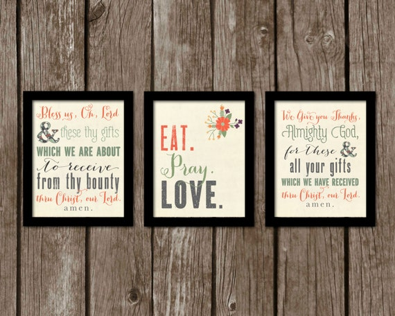 Sale set of 3 8x10 kitchen prints bless by for 8x10 kitchen designs