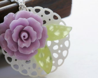 Rose necklace, purple rose jewelry, mother of pearl necklace, plant jewelry