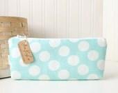 Turquoise Aqua Blue and White Polka Dots Cute Pencil Case Long Zipper Pouch