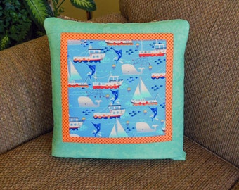 Ready to Ship - Swim Free Whales Swordfish Boats Quillow - the quilt that folds into a pillow - Last One