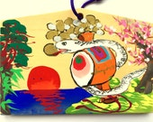 Japanese Shrine Wood Plaque Lucky Charms White Snake Money Hammer Sunrise Bamboo Pine Plum Blossoms Hand Painted
