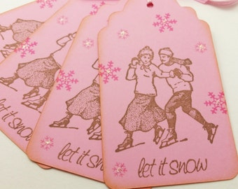 Christmas Tags Skaters in Love Holiday Paper Gift Tags Victorian Christmas Tags Pink Set of 6