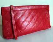 Vintage 1970's Clutch Purse // Red Leather Clutch // Jane Shilton Purse // Genuine Leather Purse // Wristlet Clutch // Made in England