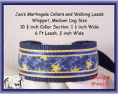 Jan's Martingales, Navy Blue Collar and Leash Combination Walking Lead, Whippet, Medium Dog Size, Wnvy121