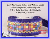 "Jan's Martingales, Blue Collar Leash Combination Walking Lead,  Italian Greyhound, Small Dog Size 9 1/2 "" Collar Section, Iblu083"