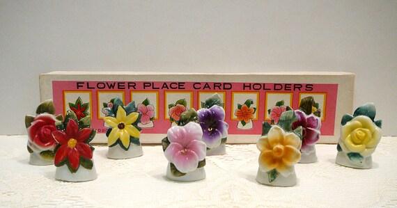 vintage flower place card holder ceramicevelynnsalcove