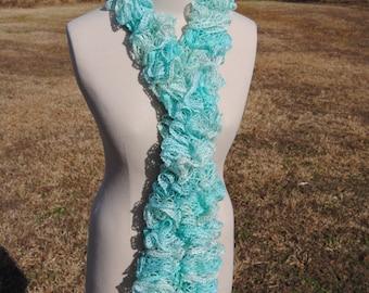 Baby Blue Sparkle Ruffle Scarf, Long Ruffle Scarf, Crochet Ruffle Scarf